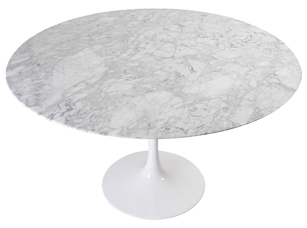 tulip table round by eero saarinen platinum replica