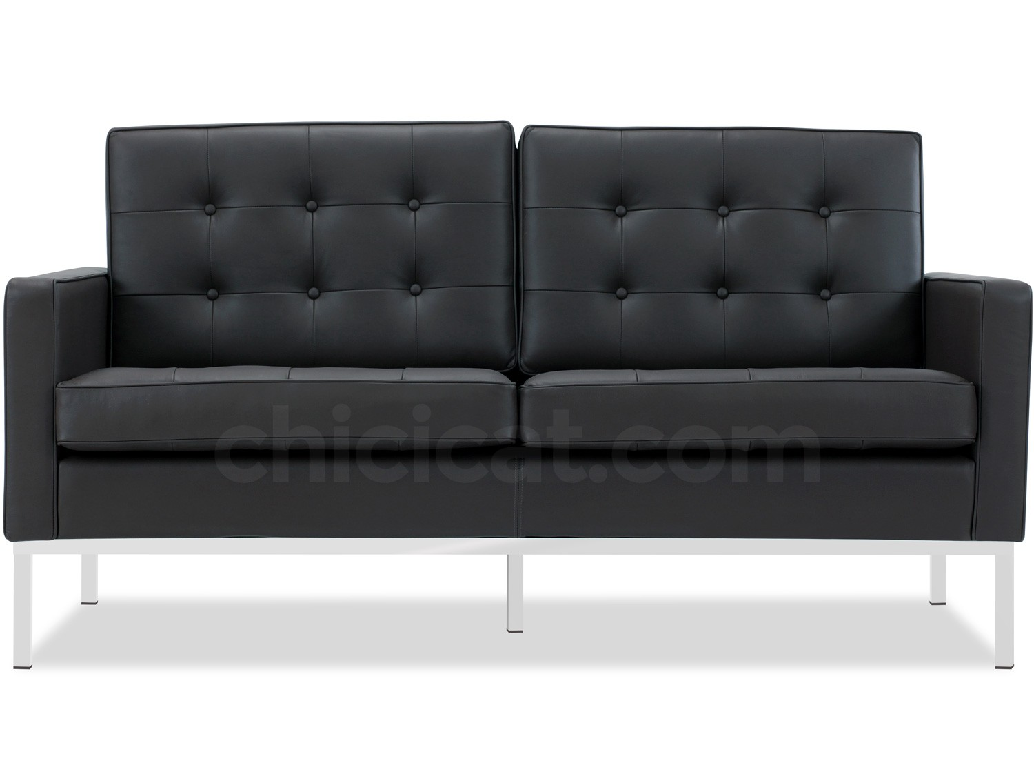 florence knoll sofa 2 seater leather platinum replica. Black Bedroom Furniture Sets. Home Design Ideas