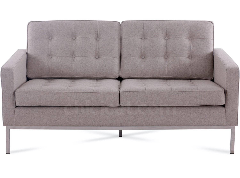Florence Knoll Sofa 2 Seater Wool Platinum Replica