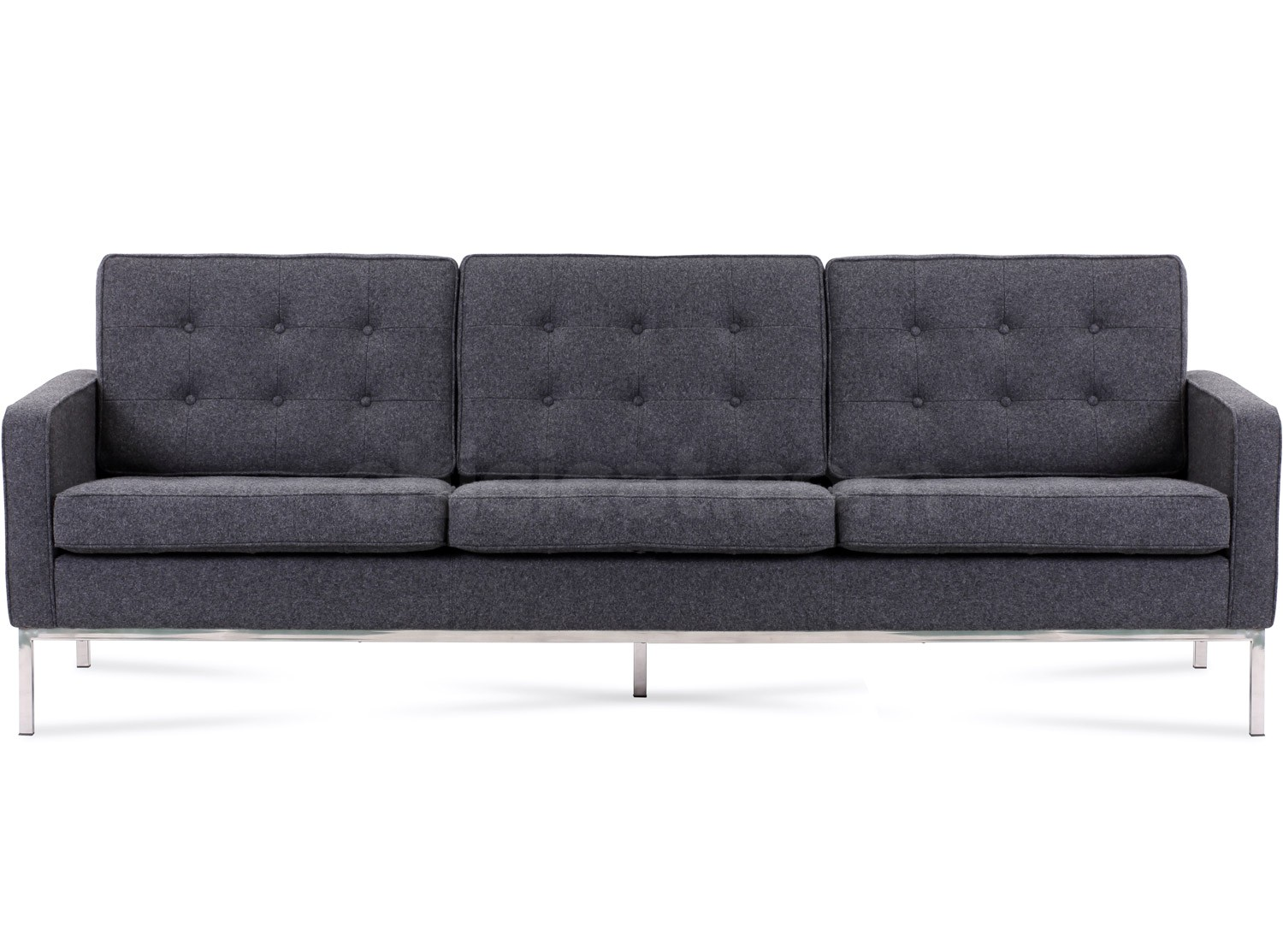 florence knoll sofa 3 seater wool platinum replica. Black Bedroom Furniture Sets. Home Design Ideas