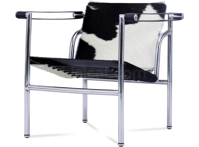 Le Corbusier LC1 Sling Basculant Chair Cowhide Platinum