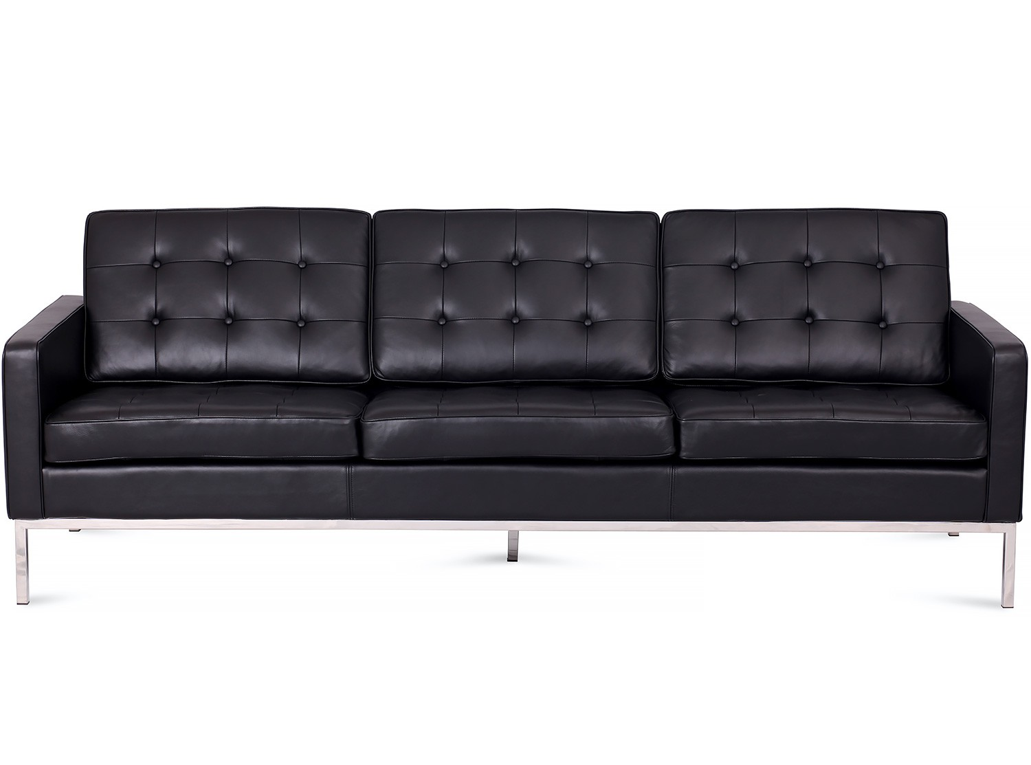 Florence Knoll Sofa 3 Seater Leather Platinum Replica