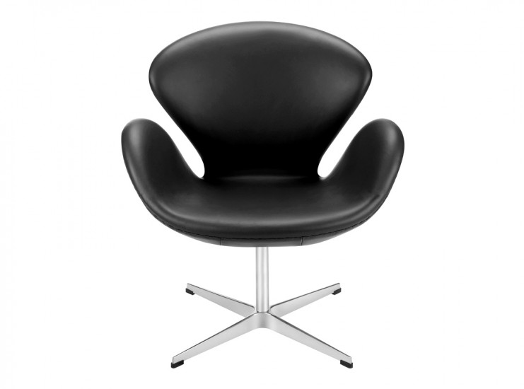 Swan Chair by Arne Jacobsen Leather (Collector Replica) ... Pictured in Black Aniline Leather