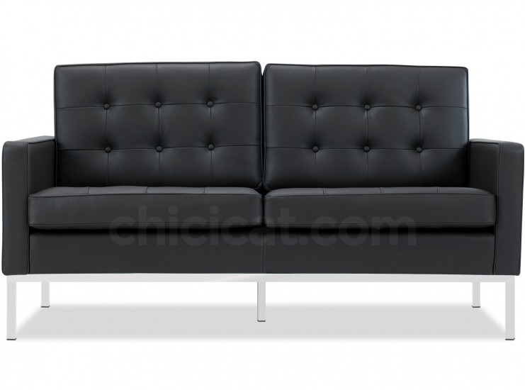 Florence Knoll Sofa 2 Seater Leather (Platinum Replica)