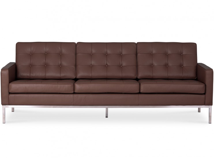 Florence Knoll Sofa 3 Seater Leather (Platinum Replica)