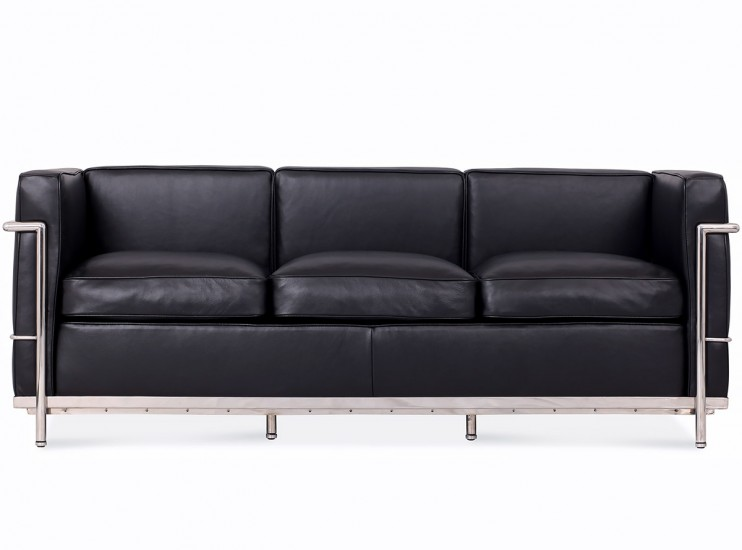 le corbusier lc2 sofa 3 seater petit confort platinum replica. Black Bedroom Furniture Sets. Home Design Ideas
