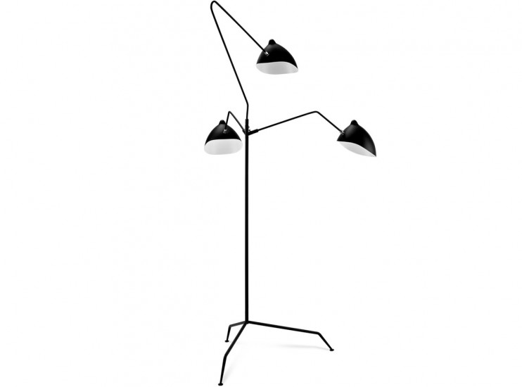 MFL-3 Three Arm Floor Lamp by Serge Mouille (Platinum Replica)
