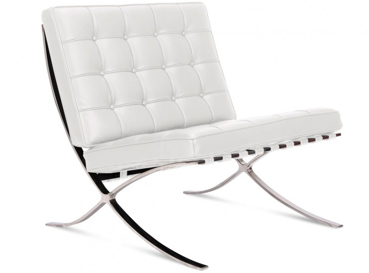 Barcelona chair by mies van der rohe platinum replica for Mies van der rohe replica