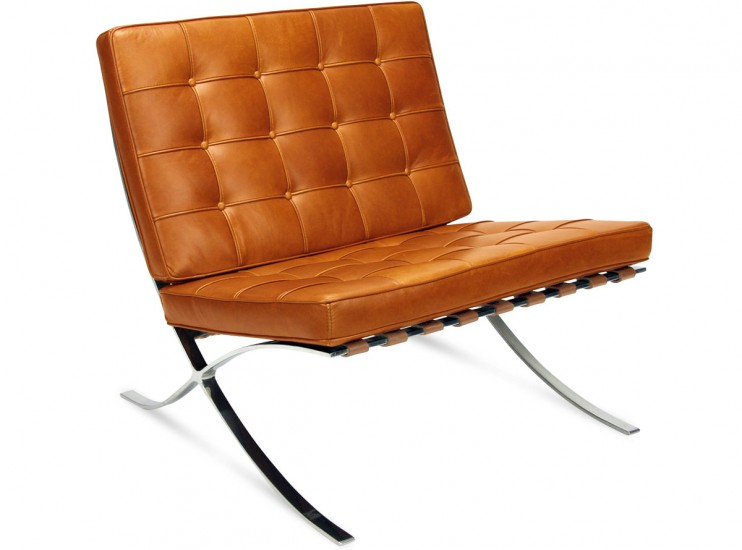 Knock Off Barcelona Chair barcelona chairmies van der rohe (platinum replica) -wax-caramel
