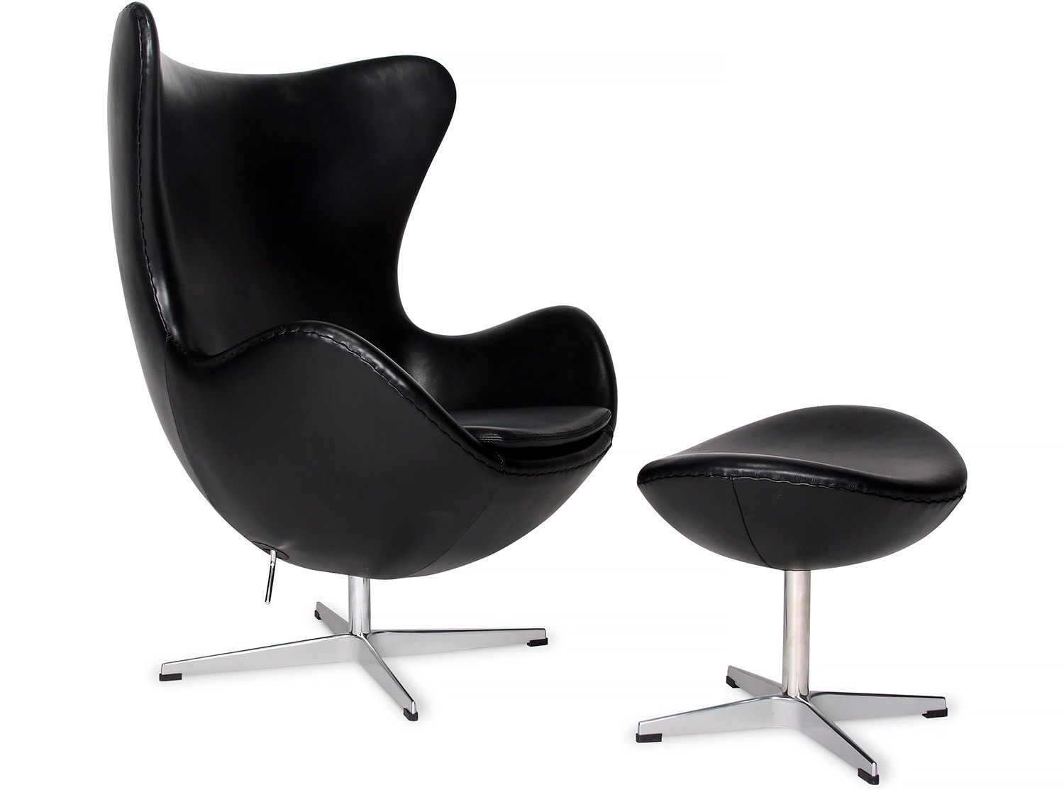 Egg chair by arne jacobsen leather platinum replica for Egg chair jacobsen
