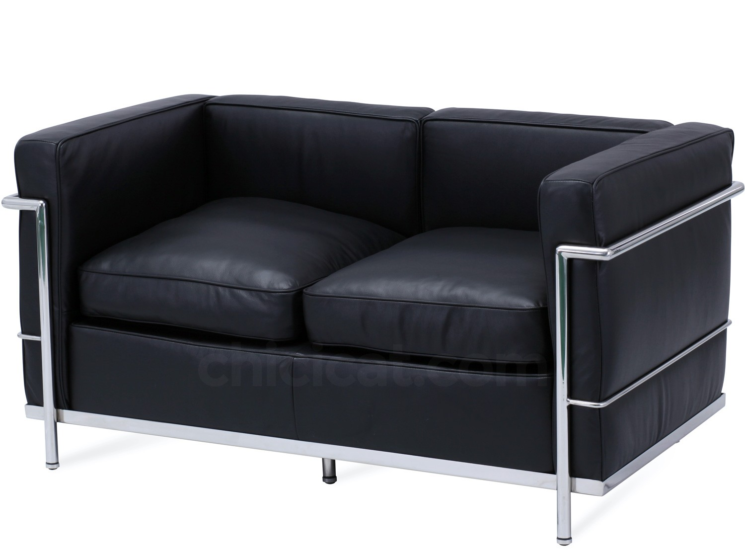 le corbusier lc2 sofa 2 seater petit confort platinum replica. Black Bedroom Furniture Sets. Home Design Ideas