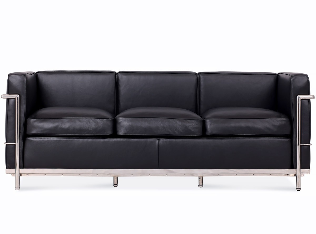 Le corbusier lc2 sofa 3 seater petit confort platinum for Le corbusier lc2