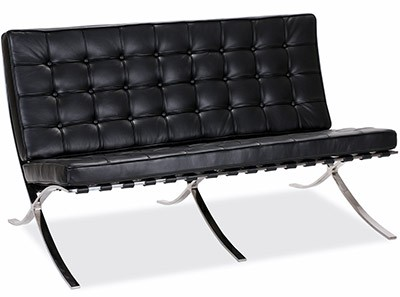 Barcelona Sofa 2 Seater by Mies van der Rohe (Platinum Replica)