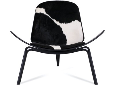 CH07 Shell Chair by Hans Wegner Cowhide (Platinum Replica)