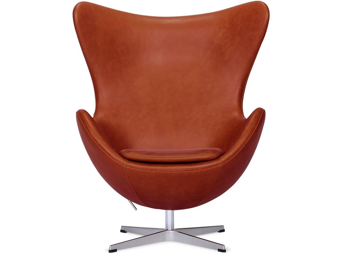 Egg Chair by Arne Jacobsen Leather (Platinum Replica) -WAX-VINTAGE-DARK-TAN
