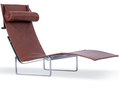 PK24 Relax Chair Leather by Poul Kjaerholm (Platinum Replica)