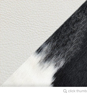 Black + White Cowhide / White Aniline Leather