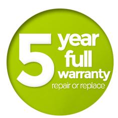 5 Year Warranty