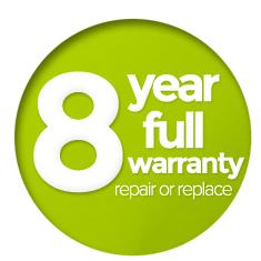 8 Year Warranty